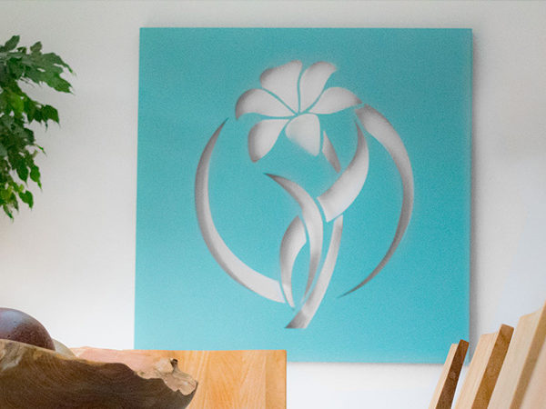 Flower in a circle decorative wall art made from metal by decori